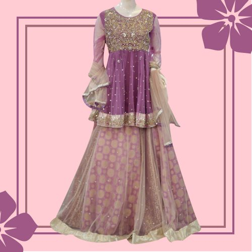 Jamawar Net Lehenga with Peplum Shirt Wedding Dress