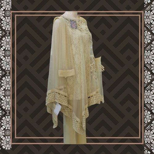 Net Skin Cape Sleeve Style Dress with Sequence Pearls Work