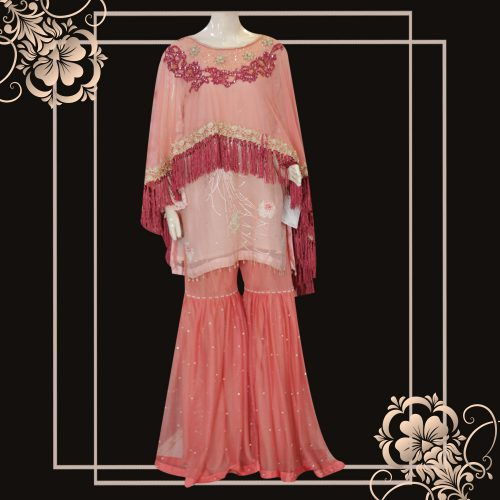 Peach and Baby Pink Cape Style Net and Organza Dress