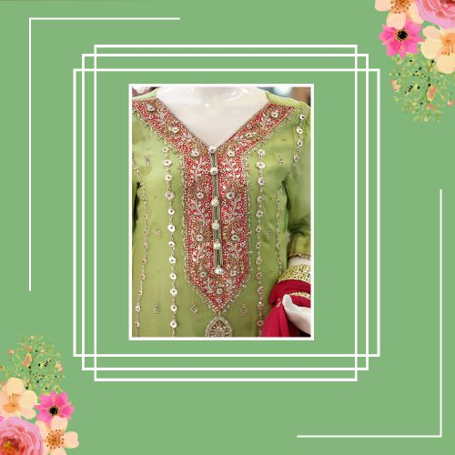 Chiffon Jamawar Straight Shirt & Gharara with Gotta Zari Work
