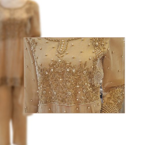 Golden Peplum Cotton Net Dress with Pearls Work