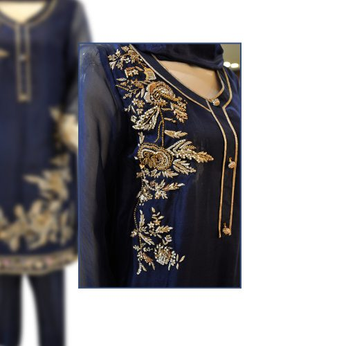 Buy Blue Organza Straight Shirt with Raw Silk Trouser