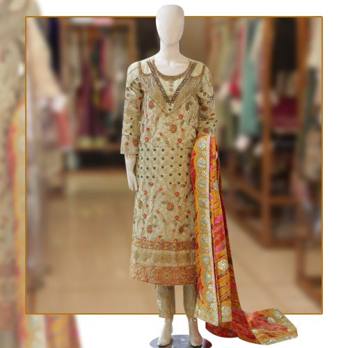 Buy Multi Colored Cotton Net Dress with Stone Embroidery Work