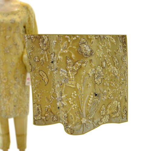 Buy Yellow Organza Straight Shirt with Zari Work