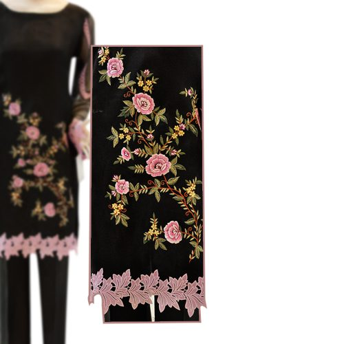 Organza Black Embroidered Dress with Grip Silk Trouser