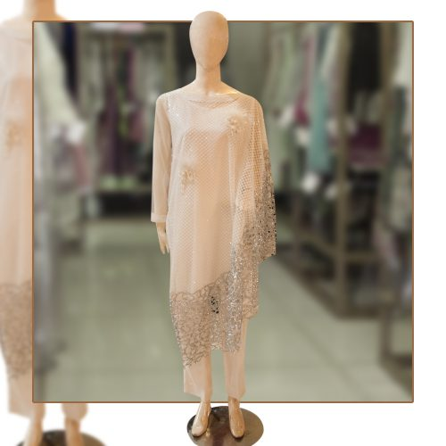 White Fancy Net Kaftan Style Shirt with Viscose Trouser
