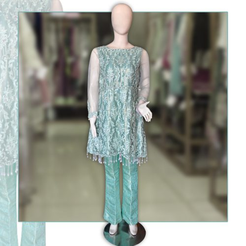Fresh Green Net Jamawar Peplum with Bell Bottom