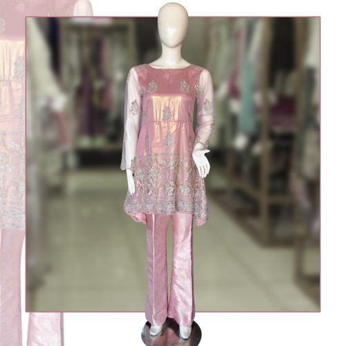 Buy Embroidered Pink Peplum with Bell Bottom