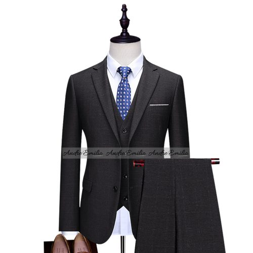 Customize Window Pane Check 3 Pcs Suit with Waistcoat